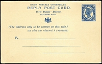 Lot 954 [1 of 4]:1880-1911 Group with [1] 1911 Reply Postal Card 1½d+1½d Blue H&G #21, fine unused & scarce (only 5000 were printed); also [2] 1891-92 QV Sideface Postal Card With UPU Heading, Reply Card attached H&G #9, few tonespots, unused; [3] 1880-92 Postal Cards comprising 1880 1d vermilion on buff stock H&G #1 unused, 1889-91 1d rose #4 with Brisbane CTO datestamp, 1891-92 1½d chocolate on black-brown stock #8a; some minor blemishes, generally fine. (5)