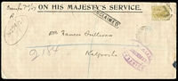 Lot 809 [1 of 2]:1907 (Feb 13) Perth registered OHMS cover to Kalgoorlie with Crown/A 5d P12½ perf 'OS' tied by 'R'-in oval cancel, unclaimed with Perth DLO oval handstamp on reverse.