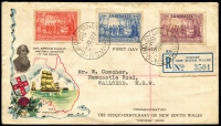 Lot 321 [1 of 2]:Northern Stamp Company 1937 NSW Sesquicentenary set tied to registered FDC by Sydney '1OC37' FDI datestamps, some age-spotting at top.