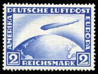 Lot 1269 [2 of 2]:1928-31 Zeppelin Polar Flight 1928 2m Mi #423, some minor paper adhesions on gum, MUH; also 1931 'POLAR-FAHRT' 1m carmine Mi #456, few toned perfs, postally used. (2)