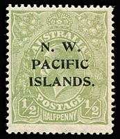 Lot 1031:1918-23 KGV Large Multi Wmk ½d green Watermark inverted SG #119w, MUH, Cat £130+.
