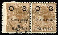 Lot 766:1891 Surcharges: 7½d on 6d brown SG #O56 horizontal pair, right unit with variety Broken 'S' of 'OS', tidy datestamp, Cat £140+.