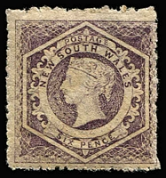 Lot 967:1860-72 Diadems Wmk Double-Lined Numeral Perf 13 6d violet Wmk '12' (inverted) SG #165b, MLH with large-part og, Cat £700.