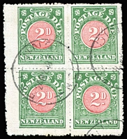 Lot 1017 [2 of 2]:1899-1908 blocks of 4 comprising 1899 Large 'D' 3d SG #D12, Ormondville datestamp, and 1908 2d rose-pink and green SG #D22a, Fielding datestamp; scarce as multiples. (2 blocks). (2 blks)