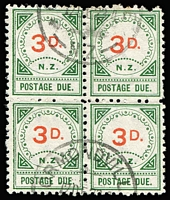 Lot 1017 [1 of 2]:1899-1908 blocks of 4 comprising 1899 Large 'D' 3d SG #D12, Ormondville datestamp, and 1908 2d rose-pink and green SG #D22a, Fielding datestamp; scarce as multiples. (2 blocks). (2 blks)