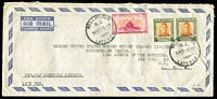 Lot 2243:1951 (Feb 16) double rate cover to USA with KGVI 2/- pair plus 2d Canterbury Centennial paying Late Fee. Attractive.