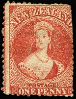 Lot 1459:1862-64 Chalons Wmk Large Star P13 1d carmine-vermilion SG #69, trimmed perfs at right, deep colour, unused, Cat £2,750.