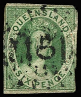 Lot 311 [1 of 3]:1860 Chalons Group comprising [1] imperf 1d carmine-rose SG #1, close margins, 5mm tear at top, Rays '86' of Gayndah; [2] 6d green #3, three good margins, incomplete at right with clipped at upper-right corner & small surface scuff; [3] P14-16 1d carmine-rose, perforations top margin only, deep colour, lightly cancelled. (3)