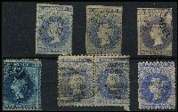 Lot 808 [2 of 2]:1856-1900 6d Blue Selection various roulettes/perfs including First Roulettes 6d slate-blue SG #17 and perforated Broad Star 10x11½-12½ pair, mixed condition. (8)