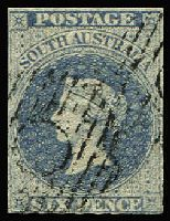 Lot 1121 [1 of 2]:1856-1900 6d Blue Selection various roulettes/perfs including First Roulettes 6d slate-blue SG #17 and perforated Broad Star 10x11½-12½ pair, mixed condition. (8)