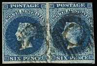 Lot 572:1855 Imperf London Printing 6d deep blue SG #3 pair, margins just touching to very good, deep colour, void grid cancel, Cat £340+.