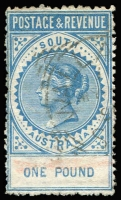 Lot 578:1886-96 'POSTAGE & REVENUE' £1 blue P11½-12½ SG #199a, faint crayon line, Wallaroo squared-circle datestamp, fine, Cat £150.