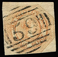 Lot 1124:1853 Imperf Courier Plate I Worn Impression 4d pale orange SG #9, close (just shaved at base) to large margins, fine BN '59' cancel of Launceston, Cat £450.