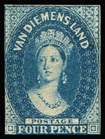 Lot 599:1855 Imperf Chalon Wmk Large Star 4d deep blue SG #17, two clear margins (just shaved at left and at base), slight thin at top, deep colour, Cat £4,250. Ceremuga certificate (2013).