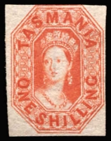 Lot 1196:1858 Imperf Chalon Wmk Double-Lined Numeral 1/- vermilion SG #41, just shaved at top, otherwise complete margins, radiant colour, sone evidence of cleaning, unused.