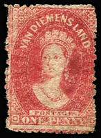 Lot 1128 [2 of 2]:1863-71 Chalon Wmk Double-Lined Numeral Walsh & Sons Perf 12 1d dull vermilion SG #69, part gum also 1864-68 P12½ 1d carmine SG #82 large-part og, Cat £230. (2)