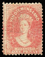 Lot 1128 [1 of 2]:1863-71 Chalon Wmk Double-Lined Numeral Walsh & Sons Perf 12 1d dull vermilion SG #69, part gum also 1864-68 P12½ 1d carmine SG #82 large-part og, Cat £230. (2)