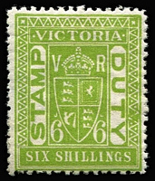 Lot 1180 [1 of 2]:Stamp Duty: Post 1901 Perf 11 mint group comprising 5/- yellow-green, 6/- apple-green, 8/- carmine (nibbed perfs) & 10/- yellow-brown (disturbed gum), generally fine. (4)