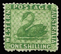 Lot 1277:1864-79 Wmk Crown/CC (Sideways) Perf 12½ 1/- bright green SG #61, rounded upper-right corner, rich colour, large-part gum, Cat £225.