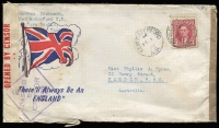 Lot 913 [2 of 5]:Inward Censor Covers To Australia to same addressee nearly all with Sydney Censor tape and handstamps, mostly from USA including 1941 1½c x3 printed matter rate, 1942 with 'JOIN THE MARINES' label on reverse, others mostly 5c surface rate various frankings includings Prexies, plus a few airmail covers; Canada with a few patriotic types including 'There'll Always Be An England' x2 with Union Jack or Bulldog & Union Jack illustrations, 1942 with numerous PMG's Dept Officially Sealed labels others from Ceylon, Egypt, Nigeria & South Africa, also OAS stampless cover with boxed 'DEFENCE FORCES/MAIL/NO POSTAGE REQUIRED' handstamp applied in Sydney. Interesting lot. (59)