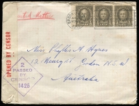Lot 913 [3 of 5]:Inward Censor Covers To Australia to same addressee nearly all with Sydney Censor tape and handstamps, mostly from USA including 1941 1½c x3 printed matter rate, 1942 with 'JOIN THE MARINES' label on reverse, others mostly 5c surface rate various frankings includings Prexies, plus a few airmail covers; Canada with a few patriotic types including 'There'll Always Be An England' x2 with Union Jack or Bulldog & Union Jack illustrations, 1942 with numerous PMG's Dept Officially Sealed labels others from Ceylon, Egypt, Nigeria & South Africa, also OAS stampless cover with boxed 'DEFENCE FORCES/MAIL/NO POSTAGE REQUIRED' handstamp applied in Sydney. Interesting lot. (59)