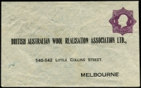 Lot 462:1922-24 1d Violet KGV 'Star' With 'POSTAGE' for British Australian Wool Realisation Association Ltd BW #ES41, minor staining, unsealed flap, unused, Cat $400.