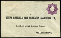 Lot 682 [2 of 3]:1922-24 1d Violet KGV 'Star' With 'POSTAGE' for British Australian Wool Realisation Association Ltd BW #ES41 x3, two have creases, one has ''PLEASE DO NOT/SEAL THIS ENVELOPE' handstamp on inside of the flap, all are unsealed, unused, Cat $1,200. (3)