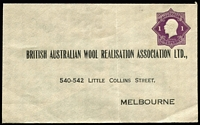 Lot 682 [3 of 3]:1922-24 1d Violet KGV 'Star' With 'POSTAGE' for British Australian Wool Realisation Association Ltd BW #ES41 x3, two have creases, one has ''PLEASE DO NOT/SEAL THIS ENVELOPE' handstamp on inside of the flap, all are unsealed, unused, Cat $1,200. (3)