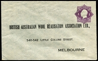 Lot 682 [1 of 3]:1922-24 1d Violet KGV 'Star' With 'POSTAGE' for British Australian Wool Realisation Association Ltd BW #ES41 x3, two have creases, one has ''PLEASE DO NOT/SEAL THIS ENVELOPE' handstamp on inside of the flap, all are unsealed, unused, Cat $1,200. (3)