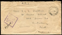 Lot 1705 [2 of 3]:1943-45 stampless covers to UK all cancelled with 'FPO 164' datestamps comprising [1] 1940 (Nov 18) with Type R11 'RAF/CENSOR/64' handstamp; [2] 1944 (Nov 28) with Type R12 'RAF/CENSOR/198' handstamp; & [3] 1945 (Mar 2) with Type R12 'RAF/CENSOR/93' handstamp. [Colley & Garrard record Type R12 censor only being used in Cyprus between November 1944 and July 1945, use of Type R12 '93' is previously unrecorded] (3)