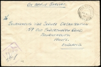 Lot 1705 [3 of 3]:1943-45 stampless covers to UK all cancelled with 'FPO 164' datestamps comprising [1] 1940 (Nov 18) with Type R11 'RAF/CENSOR/64' handstamp; [2] 1944 (Nov 28) with Type R12 'RAF/CENSOR/198' handstamp; & [3] 1945 (Mar 2) with Type R12 'RAF/CENSOR/93' handstamp. [Colley & Garrard record Type R12 censor only being used in Cyprus between November 1944 and July 1945, use of Type R12 '93' is previously unrecorded] (3)