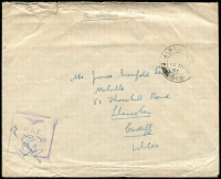 Lot 1705 [1 of 3]:1943-45 stampless covers to UK all cancelled with 'FPO 164' datestamps comprising [1] 1940 (Nov 18) with Type R11 'RAF/CENSOR/64' handstamp; [2] 1944 (Nov 28) with Type R12 'RAF/CENSOR/198' handstamp; & [3] 1945 (Mar 2) with Type R12 'RAF/CENSOR/93' handstamp. [Colley & Garrard record Type R12 censor only being used in Cyprus between November 1944 and July 1945, use of Type R12 '93' is previously unrecorded] (3)