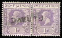 Lot 966 [2 of 5]:Selection: comprising straight-line 'DAVUTU' on KGV 1d pair, 'TOTOYA' on KGVI 2d, 'PO WAINUNU' on KGVI 5d, plus two other items. (5)