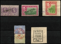 Lot 966 [1 of 5]:Selection: comprising straight-line 'DAVUTU' on KGV 1d pair, 'TOTOYA' on KGVI 2d, 'PO WAINUNU' on KGVI 5d, plus two other items. (5)