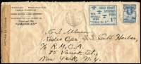 "Lot 1291:1941 (Sep 3) United States Line Company printed cover to ""Radio Operator, SS Cold Harbor"" (New York) with 3d KGVI tied by Takoradi Wharf datestamp with perforated 1d Gold Coast Spitfires Fund label alongside, Gold Coast black on buff censor tape and 'PASSED BY CENSOR/8' handstamp in red. Fine item."