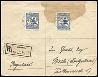 Lot 1433:1920 (Oct 15) Treasury Rabaul cover to Switzerland, with Roos 2½d SG #74 x2, Rabual black/white registration label, cover with stain at top affecting one stamp.