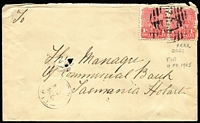 Lot 780:2021: (C1) overlapping twin strikes tying 1d Shield pair to Tatts cover, 1904 Tia datestamp at lower left, [Rated 4R].  Allocated to Tia-PO 1/2/1901; TO 6/1/1967; closed 28/8/1977.