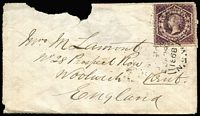 Lot 488:54: (B1) complete Rays Type 2R37 cancel tying 6d Large Diadem to defective 1868 cover to England, superb Sydney backstamp, numeral [Rated 4R].  Allocated to Pyrmont-PO 1/4/1853; renamed Harris Street PO 27/11/1882; Re-allocated to Pyrmont PO 27/11/1882.