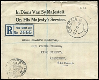 "Lot 13 [2 of 4]:South Africa 1942-43 Covers comprising [1] 1942 (Feb 25) OHMS registered envelope from Pretoria to Scotland; [2] 1942 (Jul 29) Letter Folder of 'Views of Durban' with illustrated front (detached) showing native pulling a rickshaw, 'UDF/U57' diamond censor handstamp; [3] 1942 (Dec 8) 'On Service' stampless envelope to East London with dated 'DRIFTSANDS/AIR STATION' (Port Elizabeth) boxed handstamp at lower left; and [4] 1943 (Jul 22) airmail cover to USA, endorsed ""WRITTEN/IN GERMAN"" with 1/- Bantam block of 4 tied by Johannesburg datestamp, South Africa & USA censor tape; Nice group. (4)"