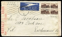 "Lot 17 [3 of 4]:South Africa 1942-43 Covers comprising [1] 1942 (Feb 25) OHMS registered envelope from Pretoria to Scotland; [2] 1942 (Jul 29) Letter Folder of 'Views of Durban' with illustrated front (detached) showing native pulling a rickshaw, 'UDF/U57' diamond censor handstamp; [3] 1942 (Dec 8) 'On Service' stampless envelope to East London with dated 'DRIFTSANDS/AIR STATION' (Port Elizabeth) boxed handstamp at lower left; and [4] 1943 (Jul 22) airmail cover to USA, endorsed ""WRITTEN/IN GERMAN"" with 1/- Bantam block of 4 tied by Johannesburg datestamp, South Africa & USA censor tape; Nice group. (4)"