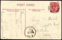 Lot 1280:1907 (Nov 7) inwards PPC from UK to Sergt W Hatch 2/3 Suffolk Regt, Dthala, Aden 'NO17/07' arrival datestamp. [The 2nd Battalion Suffolk Regiment spent approximately 12 months in Aden from late 1906 to Dec 1907 spending part of their time in the Northern hinterland area of Dthala amongst the restless & troublesome natives on the Yemeni border]
