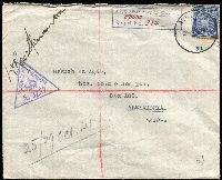 "Lot 823:Middle East 1941 (Oct 25) Lebanon registered cover to Alexandria with 3d KGVI tied skeleton Type 'AUS FPO/32' (used at Italian School Tripoli 16.09.41-14.01.42) with 'AUST ARMY POSTAL SERVICE' registration handstamp in violet with ""FPO32"" inserted in manuscript, 'PASSED BY CENSOR/No 3257' handstamp in violet, backstamped 'AIF Field PO/No12', 'AUST BASE PO/No1', 'EGYPT EPP', 'BASE APO/4' and at Cairo, fine condition."