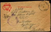 Lot 806:Lebanon 1942 (May 8) stampless YMCA printed cover to Sydney cancelled with Skeleton Type 'AUS FPO/33' (Legault Barracks Tripoli, used 7½ weeks only between 26 Apr -16 Jun 1942), 'PASSED BY CENSOR/No 447' handstamp in violet, small edge blemishes.