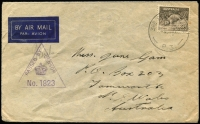 Lot 826:Palestine 1941 (July 8) airmail cover to Tamworth NSW with 9d Platypus tied by '3RD BDE HQ PO/P3' datestamp, triangular 'PASSED BY CENSOR/No 1823' handstamp in violet.