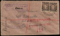 Lot 843 [1 of 2]:Papua New Guinea 1944 (Nov 12) registered cover to Hobart bearing Australia 3d KGVI definitives x2, tied by Air Force P.O. 252 datestamp (Aitape) with boxed 'AIR FORCE PO 252' registration handstamp in violet & with oval 'RAAF CENSOR 264' handstamp in grey-black, Registered Melbourne & Hobart backstamps, fine condition.
