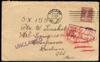 Lot 602:Queensland 1942 (Nov 25) inwards cover from South Australia addressed to No 2 Camp 101 Con, Coorparoo, 'UNCLAIMED' handstamp in violet, redirected to NCGDD, Exhibition Grounds, overstruck with a boxed 'NOT/WITH' handstamp in violet, Adelaide DLO datestamp in red, DLO Adelaide RTS label on reverse.