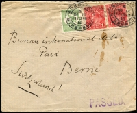 Lot 594 [1 of 2]:1917 (Dec 14) cover to Bureau International de la Paix, Berne, Switzerland with 1d KGV x2 & ½d Roo (fault) tied Adelaide datestamp, 'PASSED' handstamp in violet & on reverse Bern arrival datestamp, a tad roughly opened at top.