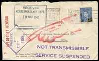 Lot 910:1942 (Jan 23) National Bank of Australasia (Sydney) bank cover to Java, with 3½d on 3d tied by Sydney datestamp, Sydney censor tape & handstamp, superb strike of two-line 'NOT TRANSMISSABLE/SERVICE SUSPENDED' handstamp in violet, 'RETURN TO/SENDER' Pointing Finger handstamp in red, on reverse Dead Letter Office/Sydney datestamp in red.