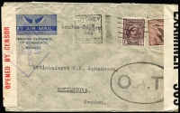 Lot 720:1943 (Dec 11) small cover to Eskilstuna, Sweden endorsed 'London-Sweden' sent at 7d rate with 1d QM & 6d Small Kooka tied by Sydney machine cancel, largely fine 'O.A.T.' oval handstamp in black, Sydney censor handstamp & tape and British censor tape, a tad roughly opened at top. Nice item. [The 7d rate paid surface carriage across Pacific & Atlantic and airmail from UK to Sweden]