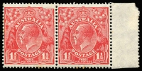 Lot 287:1½d Red Die II marginal pair, the left-hand unit with variety Void top right corner - second correction [2L59] BW #91(2)ga, some gumside perf toning, Cat $250+.